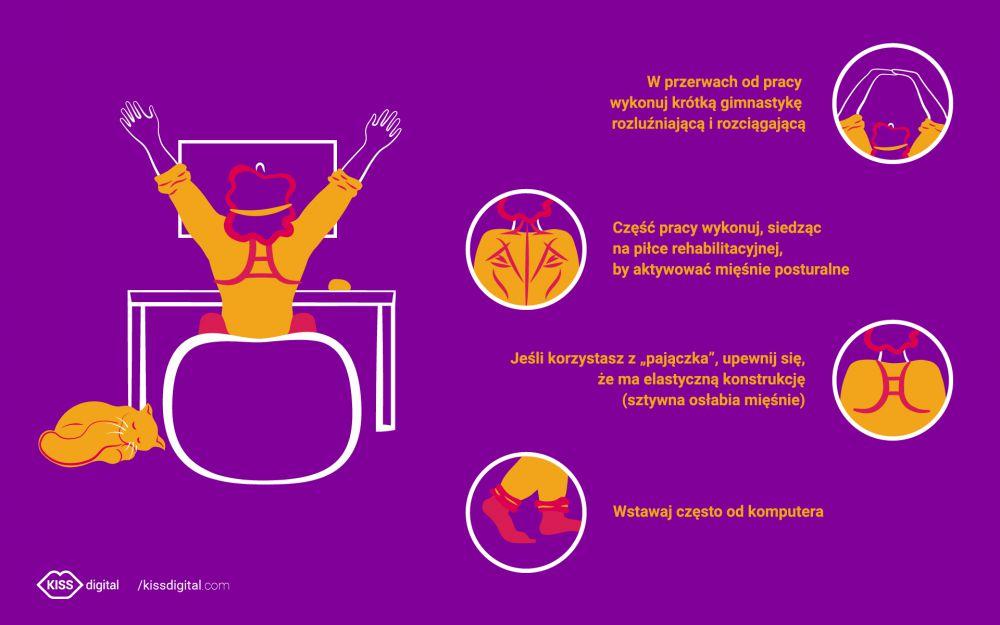Infografika - jak zadbać o swoje zdrowie podczas pracy zdalnej